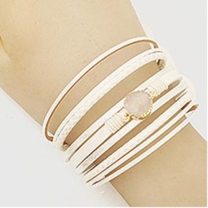 Leatherette & Druzy Magnetic Class Bracelet